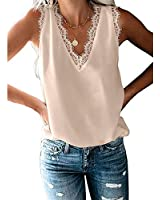 GADSUVI Womens Summer V Neck Lace Strappy Tank Top Sleeveless Loose Fitting Tunic Shirts Blouses