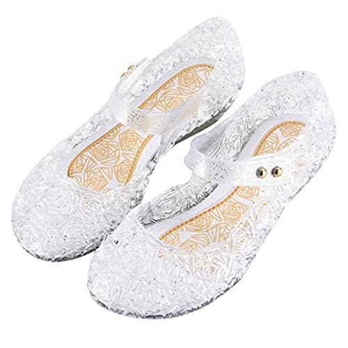 YOGLY Niña Zapatos de Tacón Disfraz Princesa de Cristal - Zapatos de Princesas Elsa Transparente Gelatina para Cumpleaños Carnaval Fiesta Cosplay Halloween