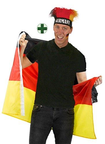 Handball Klamotten Deutschland Kostüm Flagge als Poncho Cape Umhang mit Perücke Stirnband Fan-Artikel Handball EM Herren Deutschland 2020