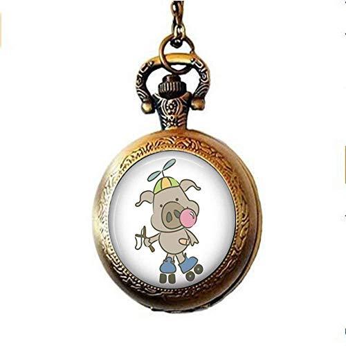 Halskette für Sport-Schweinchen – lustiger Schmuck, Rollschuh-Schmuck, Kunstglas, Foto-Schmuck, personalisiertes Geschenk