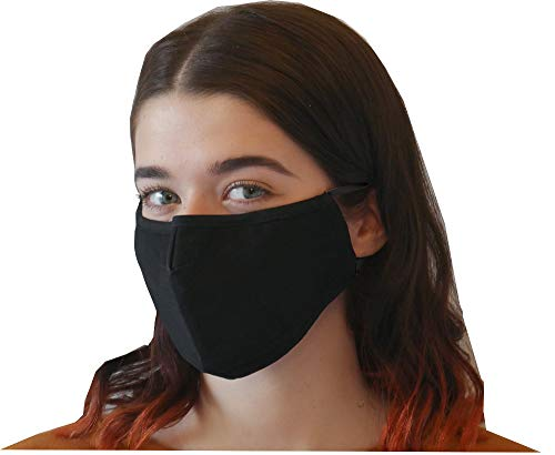 Reusable cover with Filter Insert Pocket,Adjustable Ear Loops, Nose Wire, 3-layer cotton cloth fabric, for teens, men, women, seniors, Washable,breathable, black, 5-pack