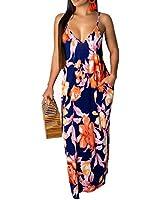 Womens Sexy Summer Spaghetti Strap Bohemian Printed Beach Sundress Plus Size Long Maxi Dresses with Pockets