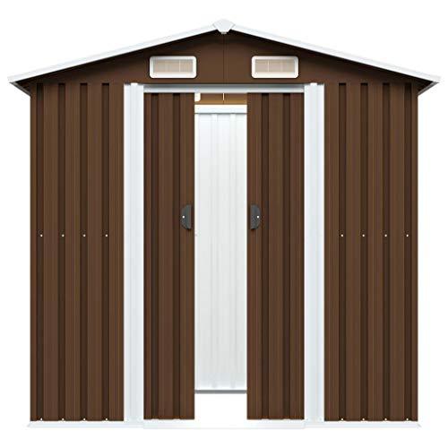 Caseta de Jardín Acero galvanizado Herramienta de Almacenamiento Casa 204x132x186 cm
