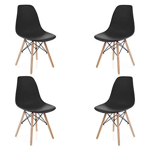duehome - Nordik- Pack 4 sillas de Comedor, Salon, Cocina o Escritorio, Acabado en Madera de Haya, Medidas: 47 cm Ancho x 56 cm Fondo x 81 cm Altura (Negro)