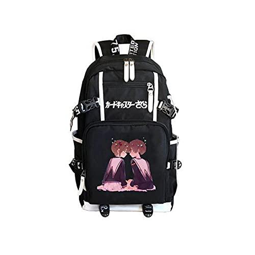 Cartable Anime Card Captor Sakura Sac À Dos pour Ordinateur Portable Backpack Sac De Voyage Bookbags pour Étudiants Garçons Filles Adolescent Noir