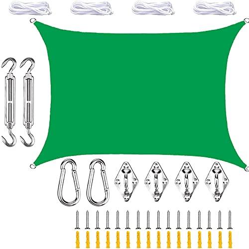HAODELE Sonnenschutz Sonnensegel 3x7m Polyester für Garten Terrasse, Grün
