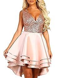 Pink V-Neck Sweet Scallop Pleated Skater Dress