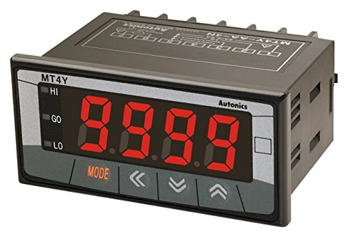 AUTONICS MT4Y-AV-4N Meter, AC Volts, LED, W72xH36mm, 4-Digit, 0-500V Input, Indication Only, 100-240 VAC