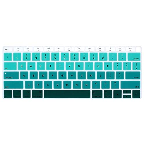 ProElife Premium Keyboard Cover Ultra Thin Silicone Keyboard Protective Skin for New Apple MacBook Air 13' 13.3-Inch (A1932, 2018 Release) with Touch ID Retina Display Keyboard Protector (Ombre Green)