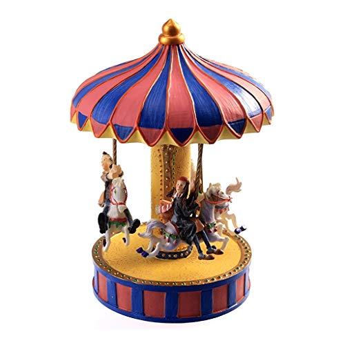 BOWCORE Music Box voor Carousel,3-Horse Merchandise Klassieke Clockwork Muzikale Box Beste Verjaardagscadeau voor kinderen, meisjes, vrienden, Melody Castle in The Sky