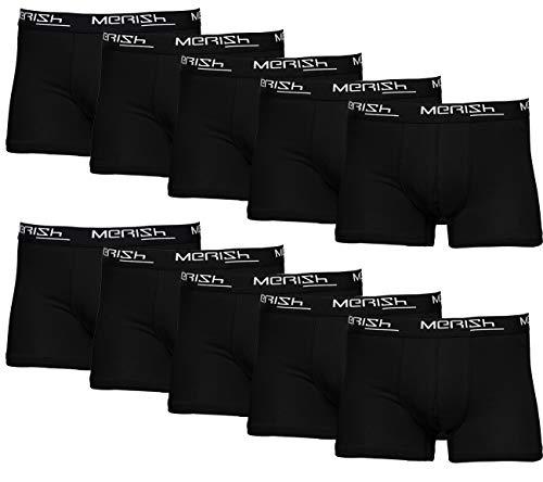 MERISH Boxershorts Herren 10er Pack / 15er Pack S-5XL Unterwäsche Unterhosen Männer Men Retroshorts 415 (410b 10er Set Schwarz, xx_l)