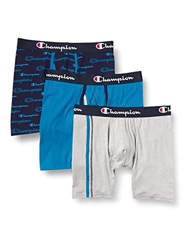 Champion Herren Athletics Everyday Comfort Collection Boxer Brief Retroshorts, Rockin' Teal/Regal Navy Schriftzug, Oxford Grey Heather, Large