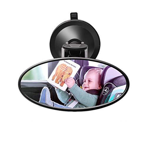 Espejo Ovalado para Automóvil Ancho - Ventosa Orientado Hacia Atrás Giratorio de 360 Grados para el Asiento Trasero