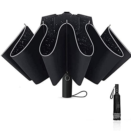 Regenschirm Taschenschirm Windproof Sturmfest Automatik Umbrella Wasserabweisend Klein Leicht Kompakt mit 10 Rippen Reise Golfschirm Nachtreflektierende Streifen Regenschirm (Schwarz)