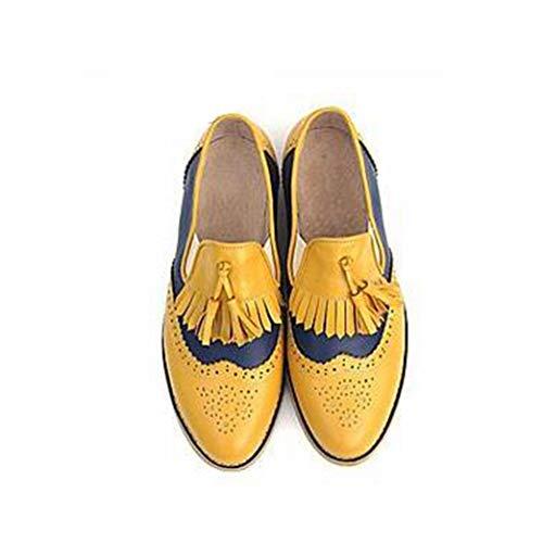 Mocasines de Mujer Talla Grande 42 Bloque de Borla de Moda Color Antideslizante Resbalón de Cuero en Zapatos de Punta Redonda Zapatos Brogue Femeninos tallados Retro