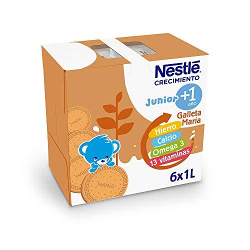 Nestlé Junior 1+Galleta María- Leche para Niños A Partir de 1 Año- Paquete 6 bricks x 1L