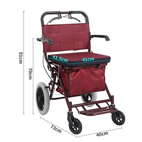 DOSNVG Falten Rollator Walker Mit Sitztransportstuhl, 4-Rad-Sicherheitsbremse FüR Rollatoren Und Abnehmbarer Aufbewahrungstasche