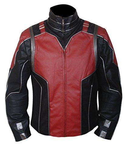 Feather Skin Antman (Paul Rudd) rote und Schwarze Lederjacke - s