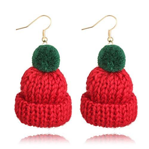 FURU Damen Ohrhänger,Nette Pom Pom Ball Wollhut Haken Drop Winter Ohrringe Für Frauen Modeschmuck