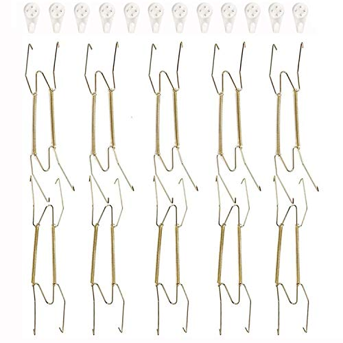 Fasunry 10 Pack Plate Hangers, 12 Inch Wall Plate Hangers and 12 Pack Wall Hooks, Compatible 10.5 to 12.5 Inch Decorative Plates, Antique China, Antique Plates and Arts