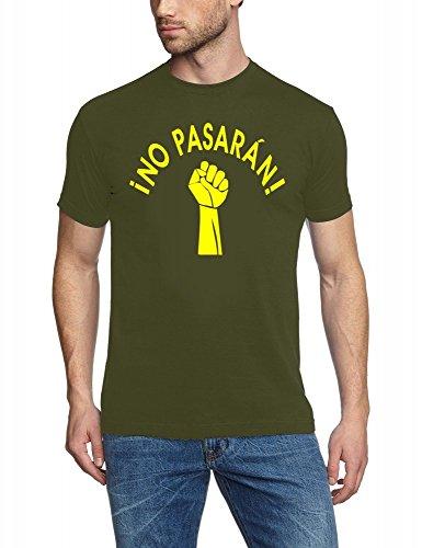 Coole-Fun-T-Shirts NO Pasaran ! T-Shirt Oliv-Gelb Gr.XXL
