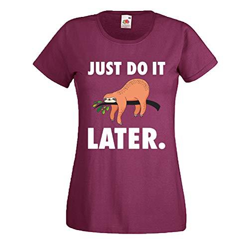 Shirt-Panda Damen Just do it Later Faultier liegend T-Shirt Frauen Chillen Sloth Weinrot (Druck Weiß) L
