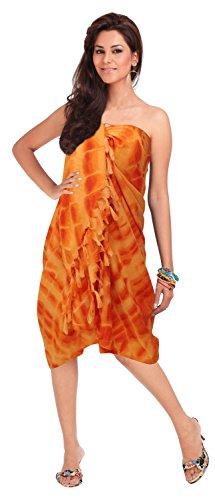 LA LEELA Women Sarong Wrap Swimwear Coverup Beach Yoga Mat One Size Orange_Q762