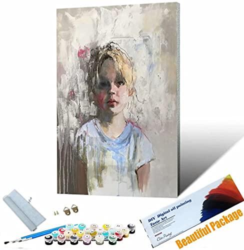 Vfvozr Tenwind Pintar por números Pintura de Figuras para Adultos DIY Paint by Numbers Pintura por Números con Pinceles y Regalo 40x50cm Sin Marco