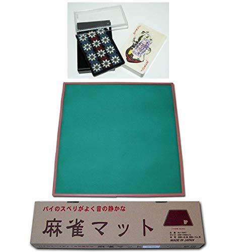 (日本製)プラスチック トランプ+ MJ-MAT ◎ トランプと日本製ミワックス麻雀マットのセット (日本製 PEARL紙製トランプ青)