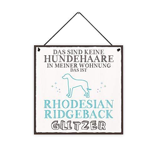 Fashionalarm Holzschild - Das sind Keine Hundehaare - Rhodesian Ridgeback Glitzer Bedruckt | Deko-Schild mit Spruch Geschenk-Idee Hunde-Besitzer, ca. 20x20 cm, 8 mm