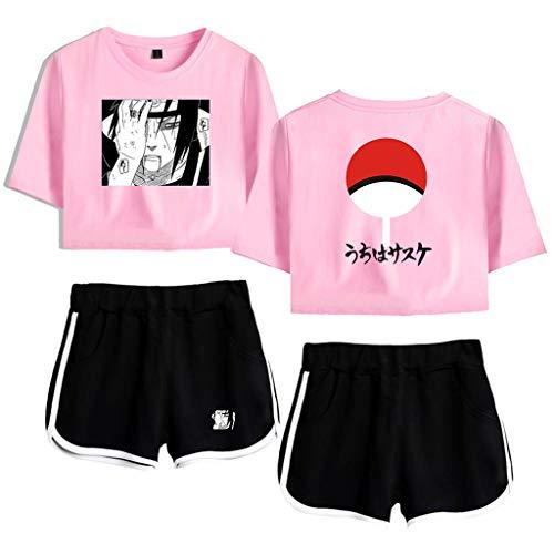 New Naruto Akatsuki Uchiha Cosplay Crop Top and Shorts Manga Shirt Pants Outfits Women Teen Girls Anime Tracksuits (31,M)