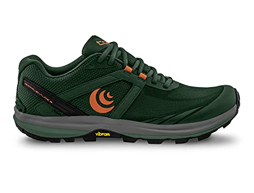 Topo Athletic Men's Terraventure 3 Comfortable Cushioned Durable 3MM Drop Trail Running Shoes, Athletic Shoes for Trail Running, Dark Green/Orange, Size 15