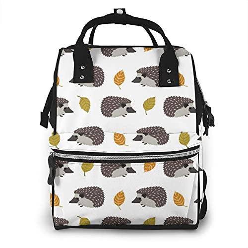 Otoño hojas erizo pañal bolsa multifunción bolsas de pañales para el cuidado del bebé impermeable ancho abierto viaje mochila para organización