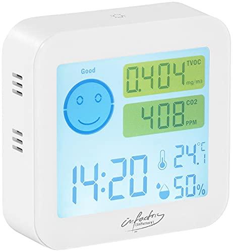 infactory Co2 Melder: Messgerät für TVOC & CO2, mit Uhrzeit, Temperatur und Luftfeuchtigkeit (Co2 Messer)