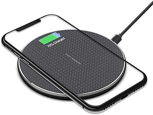 Caricatore Wireless,Caricabatterie Senza Fili 10W Ricarica Rapida Caricabatterie a Induzione per iPhone 12 PRO Max/12 Mini/11 PRO/XS/XS Max/XR/X /8/8 Plus, Galaxy S10 /S9 /S9 + /S8 - Nero