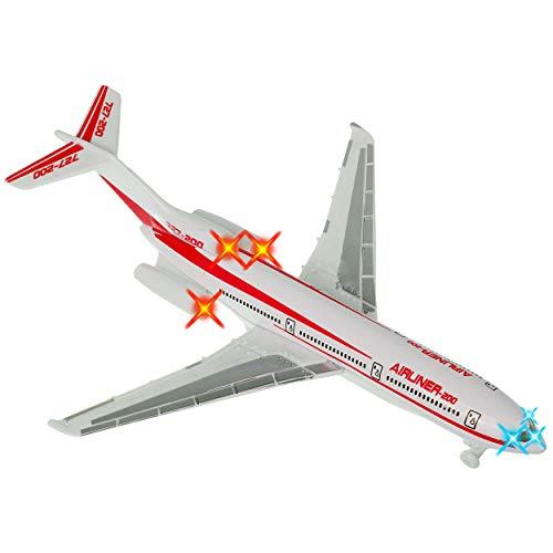 alles-meine.de GmbH 2 Stück _ Flugzeuge - aus Metall - Sound / Geräusche + Licht - mit Rückzug - 22,5 cm - bewegliche Räder - zum Aufziehen & Fahren / Aufziehfahrzeug / Aufziehsp..