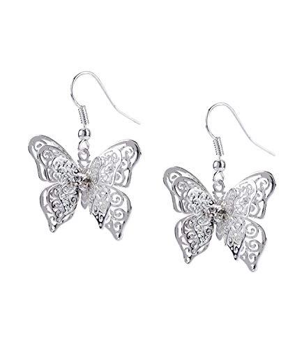 SIX Damen Ohrringe, Ohrhänger mit Schmetterlingen mit drei verschiedenen Lagen und Größen silber-farben, mit Strassstein verziert (784-476)