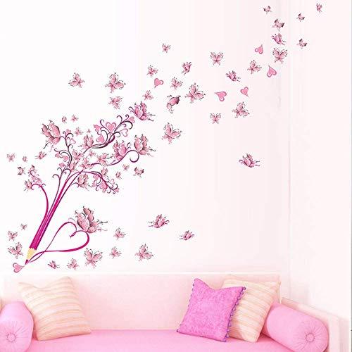 FGYHJ Kreative Bleistift Fliegende Schmetterlinge Blume Blumen PVC Wandaufkleber für Wohnzimmer Home Decor DIY Wandkunst abnehmbare Abziehbilder Geschenk