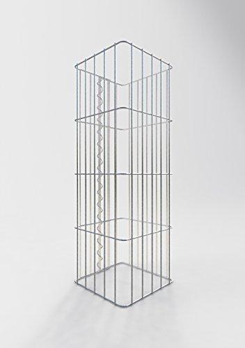 GABIONA Säule Steinkorb-Gabione eckig, Maschenweite 5 x 20 cm, Höhe 80 cm, Spiralverschluss, galvanisch verzinkt (27 x 27 cm)