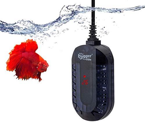 Hygger Calentador para Acuario, 50W/100W Ajustable Sumergible Calentador con LED Digital Controlador Externo Protector Antiexplosión para Pecera de Tortuga Betta y Pequeña (100W, 25-50 litros)