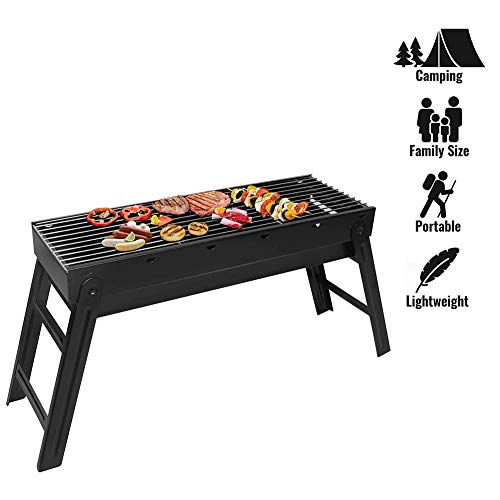FLL BBQ Charcoal Grill, Folding Portable Barbecue Smoker Grill Tools Stainless Steel, Ultralight Foldable Grill Easy to Set Up, Perfect for Camping Cooking Picnic Outdoor Garden Party Festival