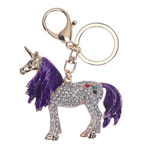 PRETYZOOM Zinklegierung Schlüsselbund Tropföl Einhorn Schlüsselanhänger Strass Dekoration Schlüsselanhänger Anhänger für Erwachsene Kinder (Lila) Fore Party Supplies