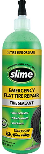 Slime 10012 Flat Tire Puncture Repair Sealant, Emergency Repair for Highway Vehicles, Suitable for Trucks/SUV, Non-Toxic, eco-Friendly, 20oz Bottle