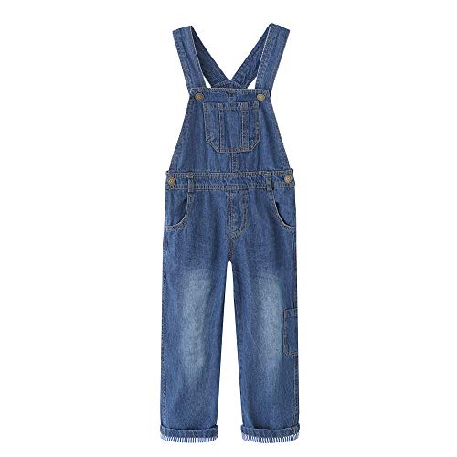 Grandwish Kinder Jungen Jeans Latzhose für Mädchen, Blau, 116 cm (Etikettengröße:5)