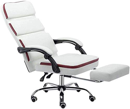 Silla de escritorio de ordenador, silla de oficina ejecutiva, silla de juegos de cuero de poliuretano con respaldo alto con reposapiés reclinable silla de oficina, color blanco # 1