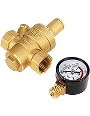 GGOOD Válvula de presión de Agua Regulador Reductor de latón DN15 presión Ajustable de Control con el calibrador del Metro, Herraje de Muebles
