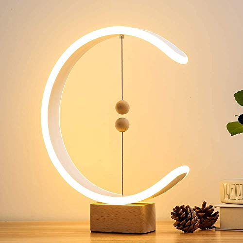 Massivholz Heng Balance Lampe, Ellipse Magnetschalter USB Powered LED Lampe, Soft Eye-Care Tischleuchte Dimmbare Nachttischlampen Für Schlafzimmer Wohnzimmer Und Büro Tischlampe