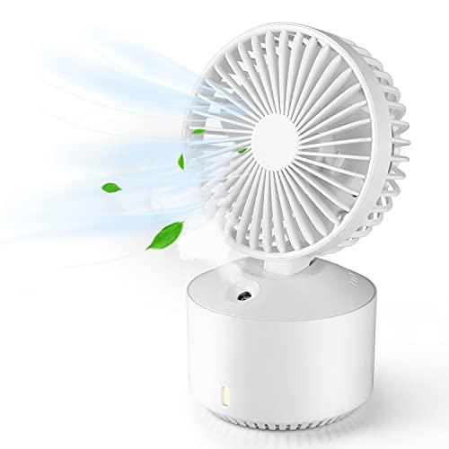 Mini Ventilador Enfriador Silencioso, Ventilador Portátil USB, 5 Velocidades, Tanque de Agua de 320 ml, Luz de Noche, Ventiladores de Sobremesa para Dormitorio, Oficina, Exterior