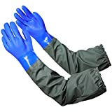 Extra-long 27.5' Rubber Gloves, MUMUKE Chemical Resistant Gloves PVC Reusable Heavy Duty Waterproof Gloves with Cotton Liner Anti-skid, Acid-alkali and Oil for Fishery Machinery Chemical Industry