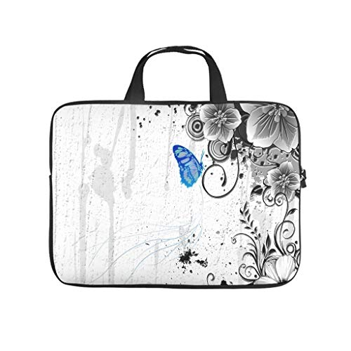 Bolsa para ordenador portátil impermeable con diseño de mariposas y flores, ideal para el trabajo o el negocio